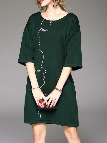 Dark Green 3/4 Sleeve Embroidered Bow Sweater Dress