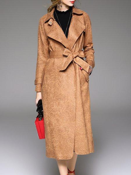 Khaki Long Sleeve Lapel Suede Plain Trench Coat