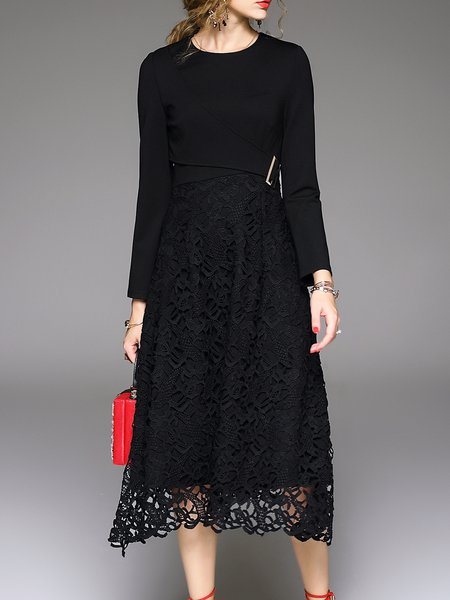 Black A-line Paneled Long Sleeve Crocheted Midi Dress