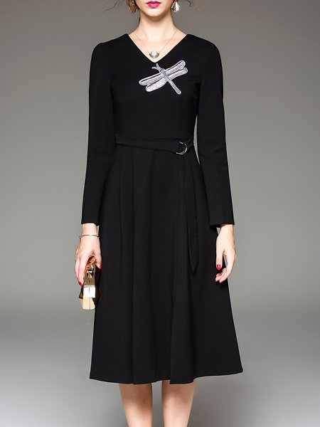 Black Long Sleeve Slit Appliqued Midi Dress