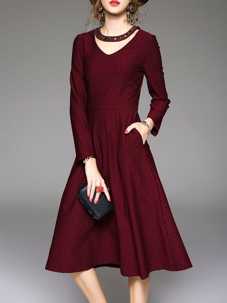 Wine Red Long Sleeve A-line Pockets Midi Dress