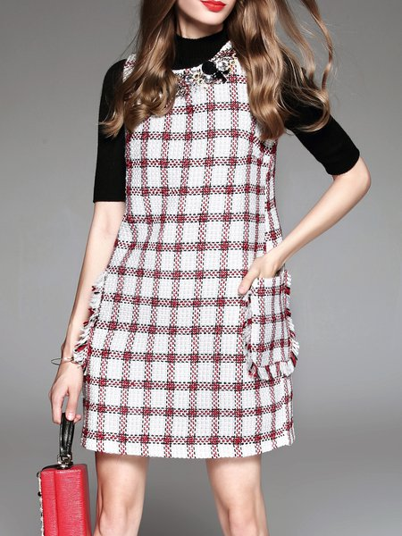 H-line Elegant Beaded Sleeveless Mini Dress