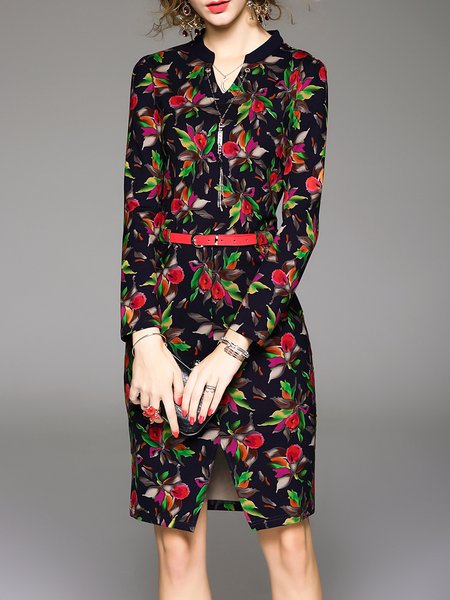 Black Floral Printed Sheath Long Sleeve Midi Dress