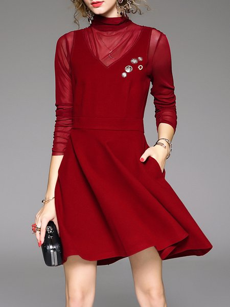 Wine Red Plain A-line Casual Mini Dress