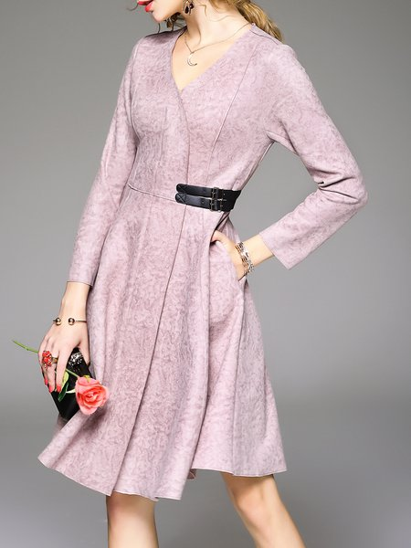 Pink Long Sleeve Pockets Midi Dress