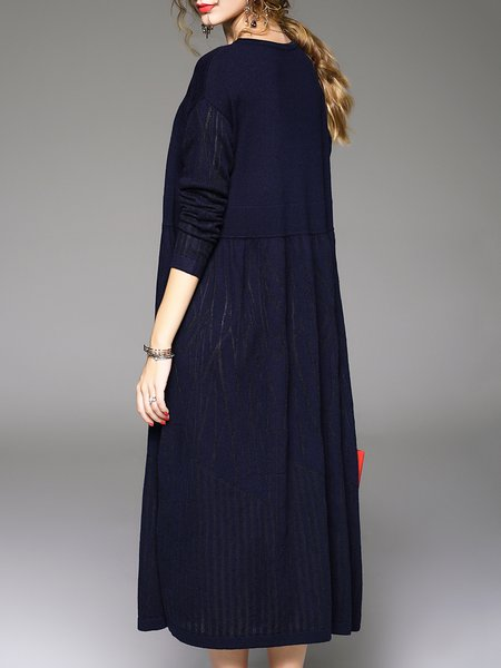 Navy Blue Wool Long Sleeve Sweater Dress - StyleWe.com