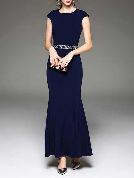 Navy Blue Crew Neck Elegant Cutout Beaded Evening Dress