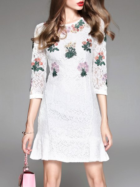 White 3/4 Sleeve Lace Crew Neck Crocheted Mini Dress