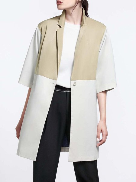 Khaki Plain Lapel Color-block 3/4 Sleeve Coat