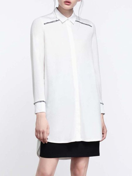 White Shirt Collar Asymmetrical Plain Long Sleeve Tunic