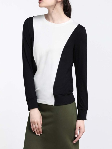 Black Crew Neck Cotton-blend Casual Color-block Long Sleeved Top
