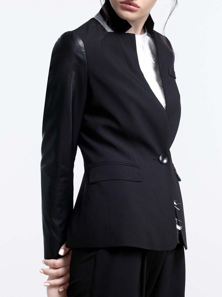 Lapel Long Sleeve Formal Paneled Plain Blazer