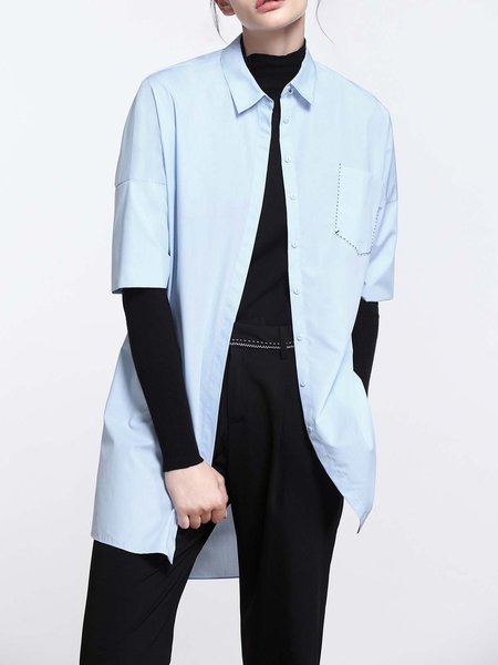Light Blue Casual Asymmetrical Plain Tunic