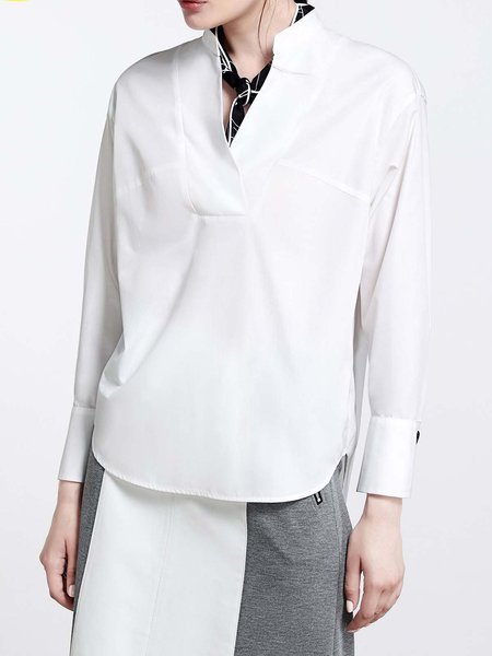 White Simple Stand Collar Cotton-blend Plain Blouse