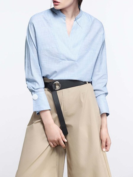 Cotton Stand Collar Plain Long Sleeve Simple Blouse