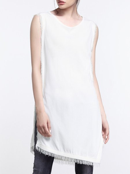White Sleeveless Slit Knitted Asymmetrical Tunic