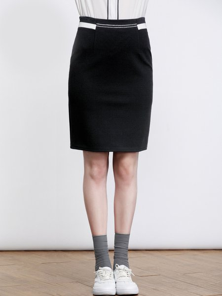 Black Simple Color-block Bodycon Cotton-blend Midi Skirt