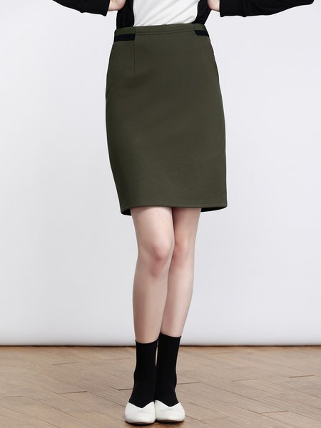 Dark Green Simple Cotton-blend Bodycon Midi Skirt