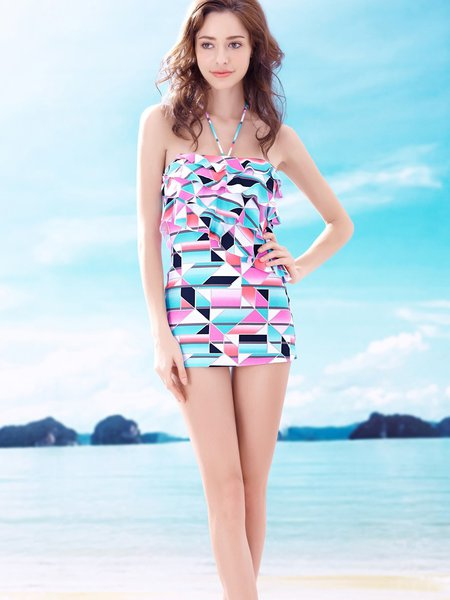 Pink Ruffles Geometric  Padded Wireless Halter Tankini