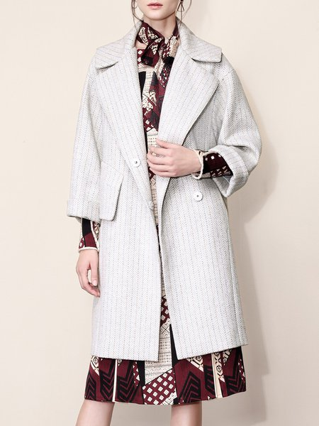 Plain Casual Ribbed Long Sleeve Lapel Coat
