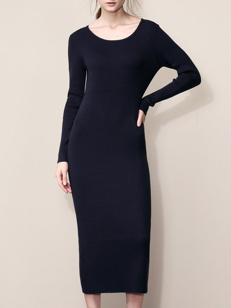 Dark Blue Sheath Long Sleeve Knitted Sweater Dress