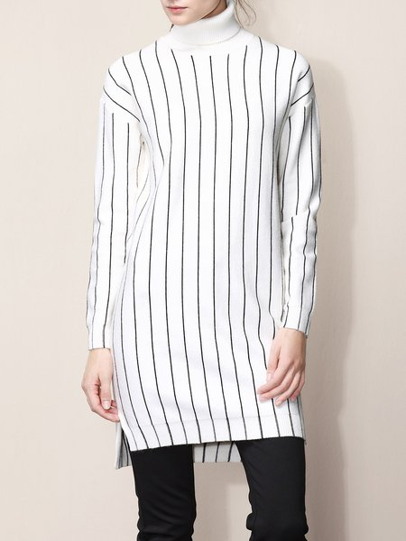 Turtleneck Long Sleeve Knitted Stripes Casual Sweater