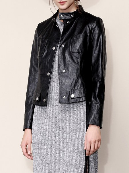 Black Casual Solid Faux Leather Buttoned Biker Jacket