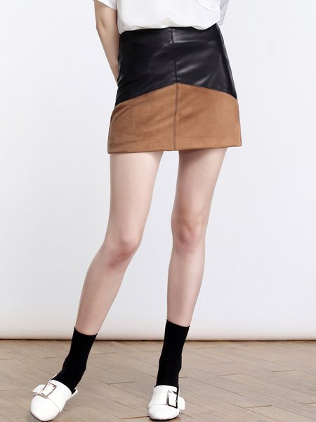 Black A-line Color-block Casual Mini Skirt