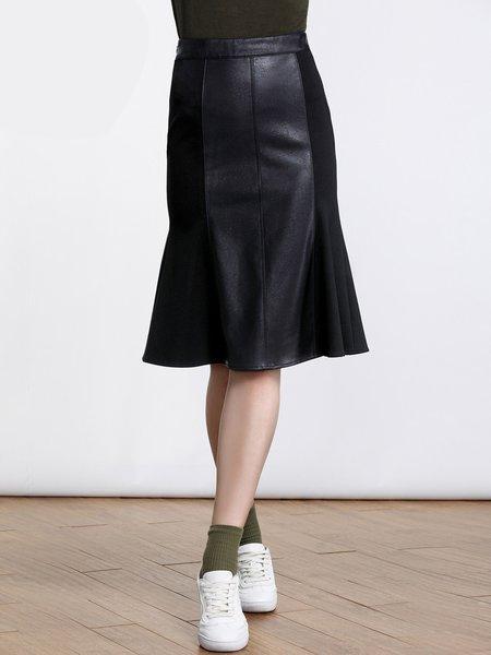 Black Cotton-blend Elegant Solid Midi Skirt