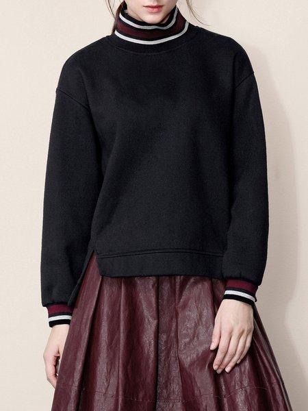 Black Cotton-blend Casual Solid Slit Sweatshirt
