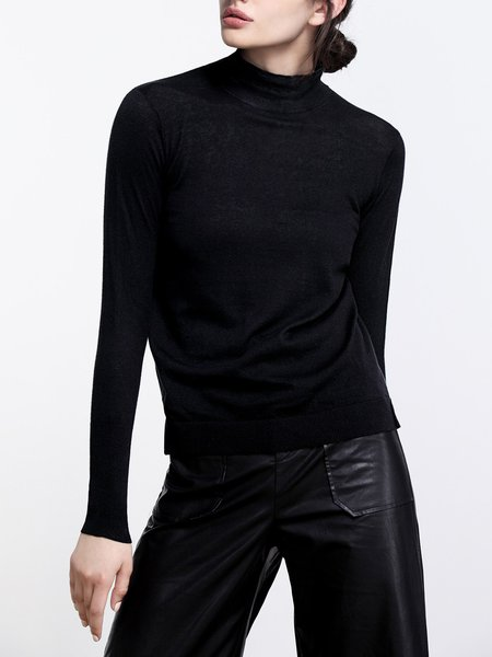 Knitted Long Sleeve Casual Solid Cotton Sweater