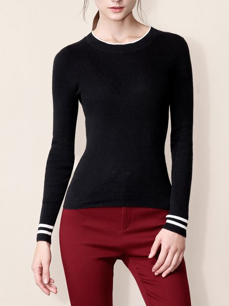 Long Sleeve Simple Plain Crew Neck Cotton Sweater
