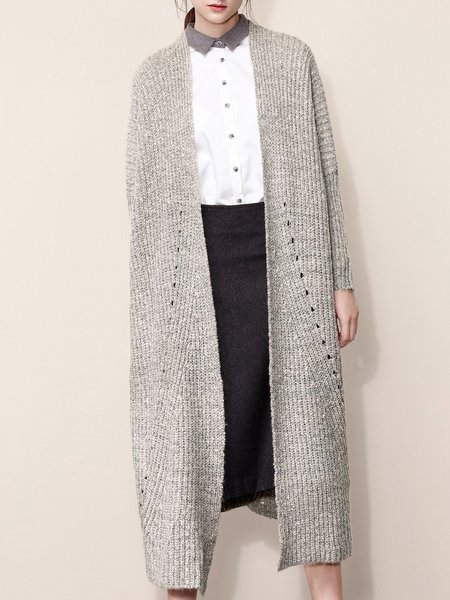 Batwing Knitted Plain Simple Shift Cardigan