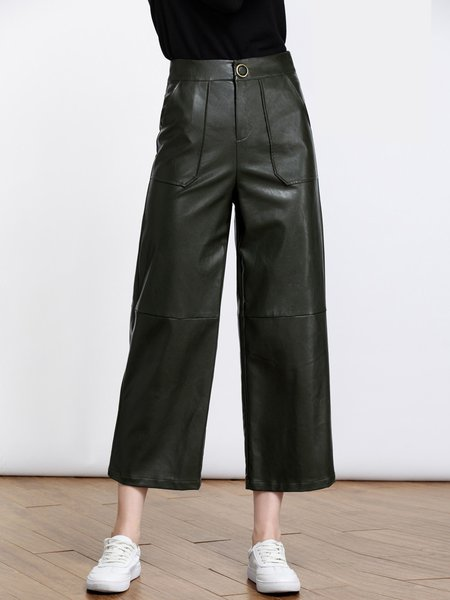 Dark Green PU Casual Solid Paneled Wide Leg Pant