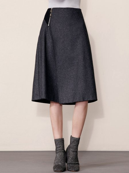 Deep Gray Knitted Solid Casual Midi Skirt