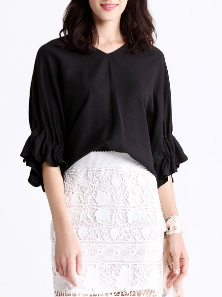 V Neck Solid Batwing Blouse