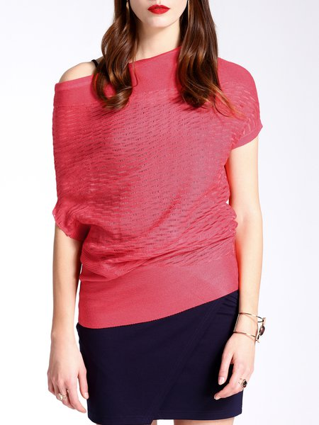 Red Slash Neck Casual Knitted Short Sleeved Top