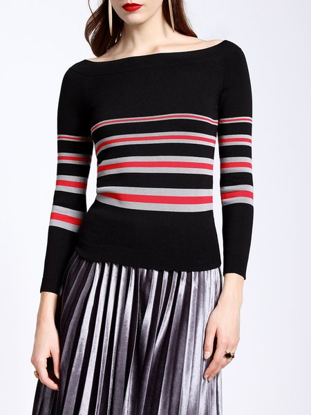Casual Sheath Long Sleeve Stripes Off Shoulder Sweater
