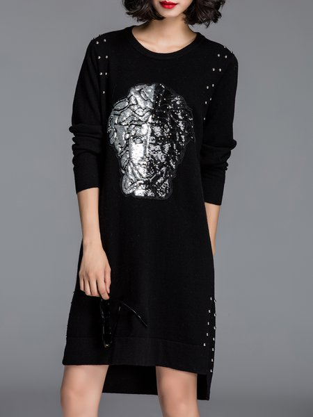 Black Wool Blend Crew Neck Casual Beaded Sweater Dress