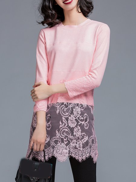 Pink Crew Neck Elegant Lace Paneled Tunic