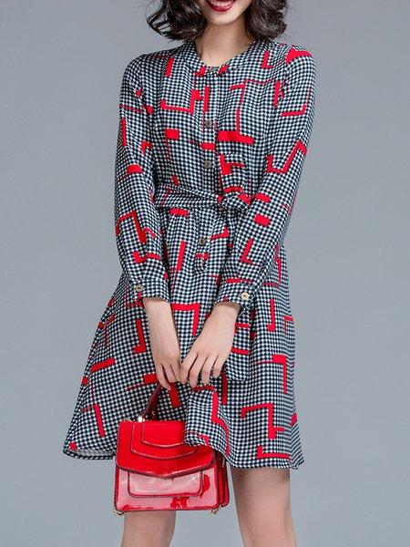Silk-blend Checkered/Plaid Elegant Long Sleeve Mini Dress