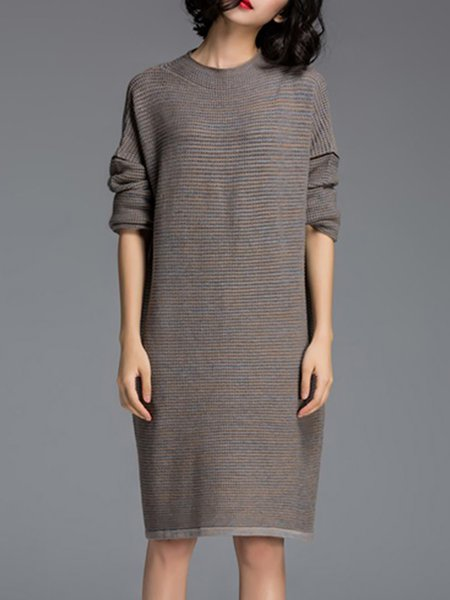 Gray Polyester Knitted Casual Midi Dress