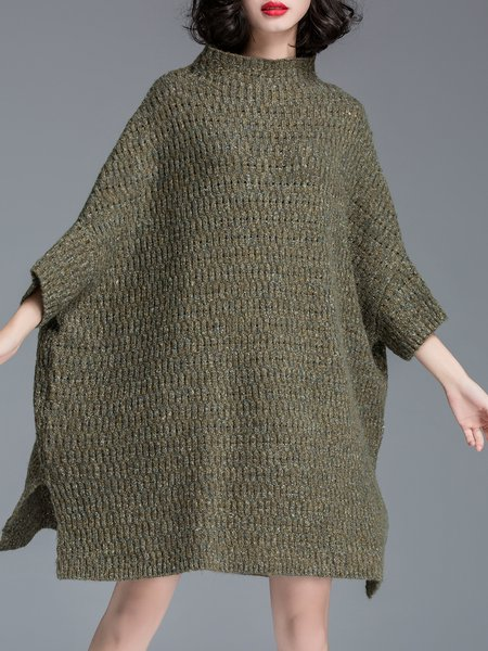 A-line Casual Batwing Sweater Dress