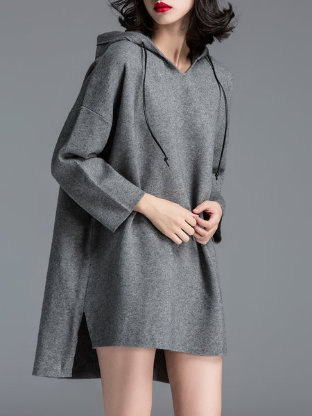 Gray Knitted Casual Plain Mini Dress