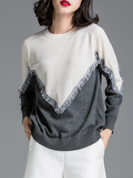 White Wool Blend Crew Neck Long Sleeve Sweater