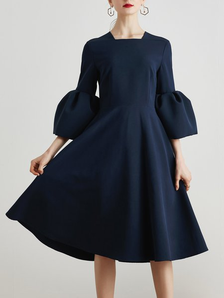 Square neck Midi Dress A-line Bell Sleeve Vintage Dress