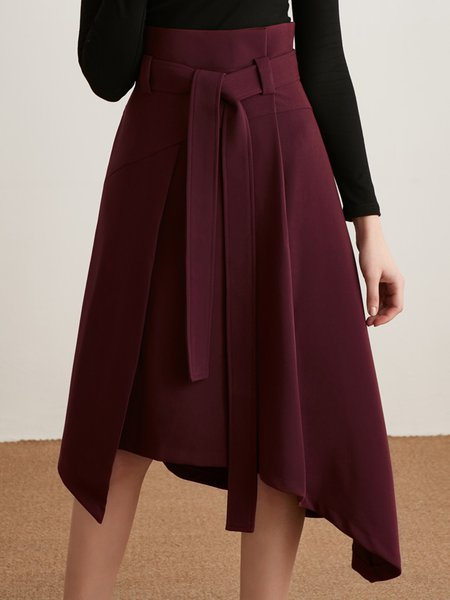 Asymmetric Casual Midi Skirt with Belt