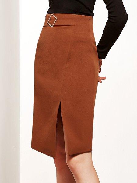 Plain Elegant H-line Slit Pencil Midi Skirt- StyleWe.com
