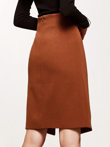 plain h line slit pencil midi skirt stylewe