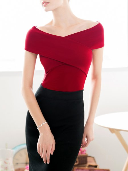 Elegant V Neck Short Sleeve Plain Cropped Top